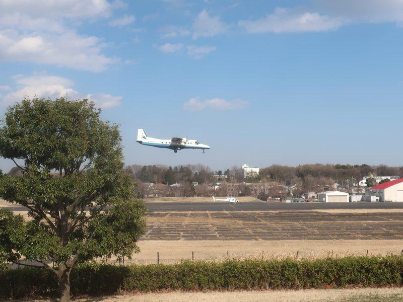 調布飛行場に着陸する飛行機